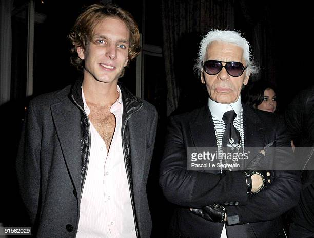 Andrea Casiraghi and Designer Karl Lagerfeld attend the launch of new Jewellery collection 'NEREE for ERE' by Repossi at the Ritz Hotel on October 7...