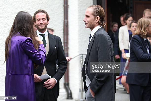 Andrea Casiraghi and his wife Tatiana Santo Domingo attend the wedding of Maria Theresia Princess von Thurn und Taxis and Hugo Wilson at St Joseph...