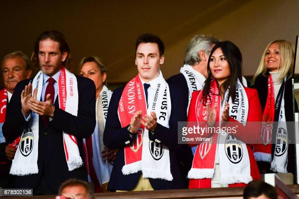 Andrea Casiraghi and Louis Ducruet and his wife Marie Chevalier during the Uefa Champions League match, semi final first leg, between As Monaco and...
