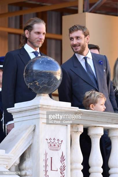Andrea Casiraghi and P•erre Casiraghi attend Monaco National Day Celebrations on November 19 2018 in MonteCarlo Monaco