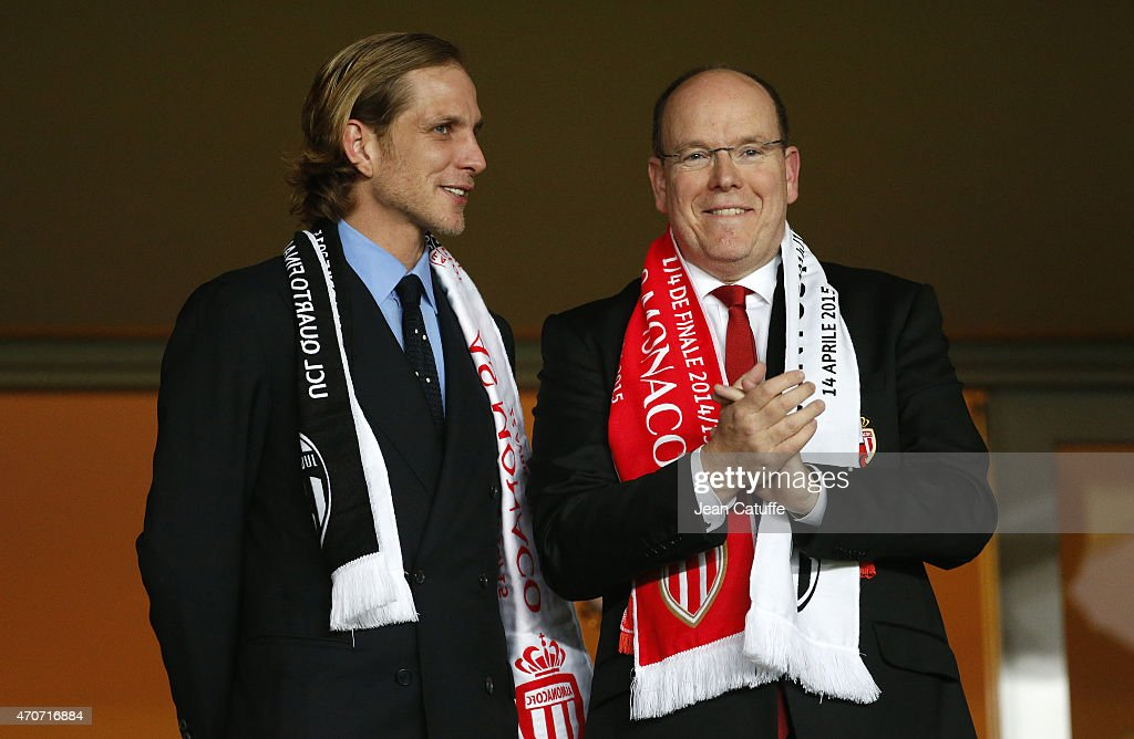 Andrea Casiraghi and Prince Albert II of Monaco attend the UEFA Champions League quarter-final second leg match between AS Monaco FC and Juventus at Stade Louis II on April 22, 2015 in Monaco.