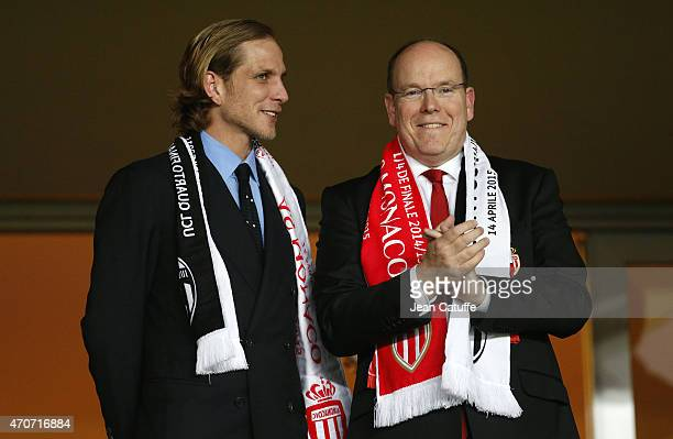 Andrea Casiraghi and Prince Albert II of Monaco attend the UEFA Champions League quarterfinal second leg match between AS Monaco FC and Juventus at...