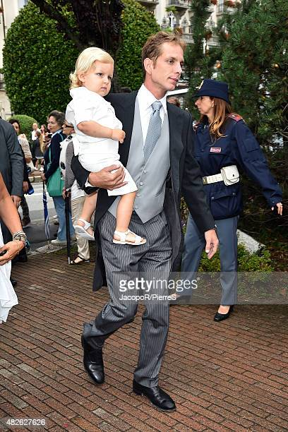 Andrea Casiraghi and Sasha Casiraghi are seen on August 1 2015 in STRESA Italy