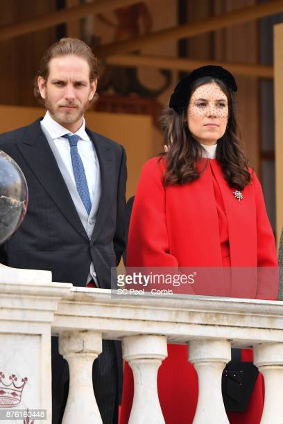 Andrea Casiraghi and Tatiana Casiraghi attend the Monaco National day celebrations in Monaco Palace courtyard on November 19 2017 in Monaco Monaco