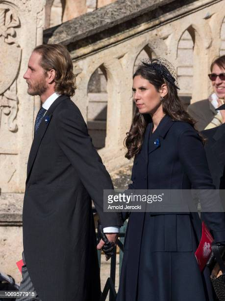 Andrea Casiraghi and Tatiana Casiraghi leave the Cathedral of Monaco after a mass during the Monaco National Day Celebrations on November 19 2018 in...