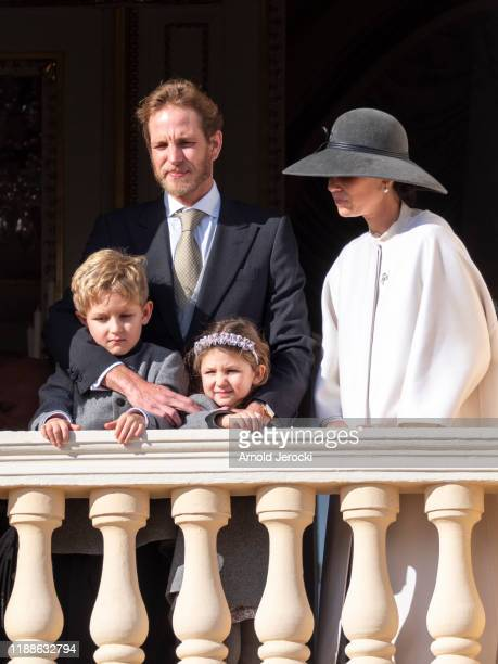 Andrea Casiraghi and Tatiana Casiraghi Stefano Casiraghi and India Casiraghi pose at the Palace balcony during the Monaco National Day Celebrations...