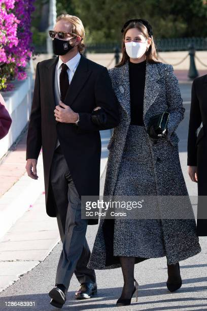 Andrea Casiraghi and Tatiana Santo Domingo arrive at the Monaco cathedral to attend a mass during the Monaco National day celebrations on November...