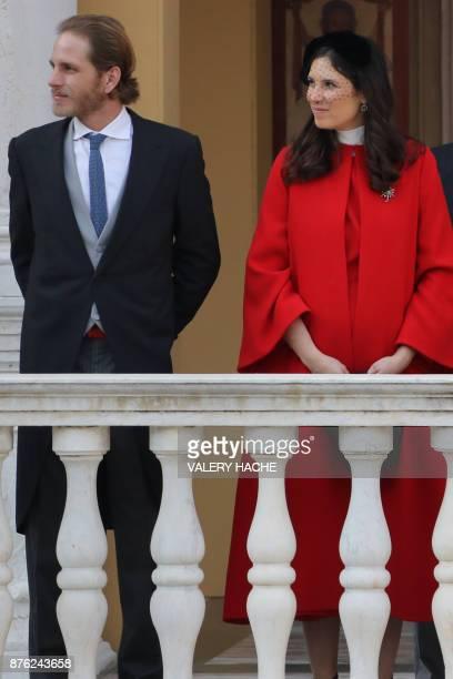 Andrea Casiraghi and Tatiana Santo Domingo attend the Monaco National Day celebrations at the Monaco Palace on November 19 2017 / AFP PHOTO / POOL /...