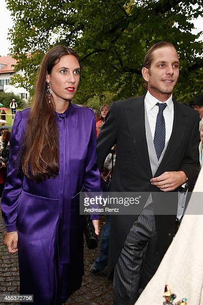 Andrea Casiraghi and Tatiana Santo Domingo attend the wedding ceremony of Princess Maria Theresia von Thurn und Taxis and Hugo Wilson at the St...