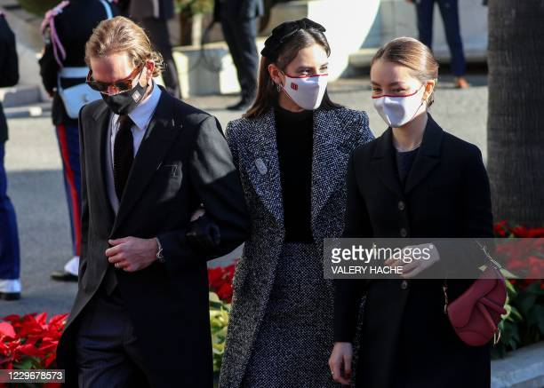 Andrea Casiraghi arrives with his wife Tatiana Santo Domingo and his sister Alexandra de Hanovre to attend a mass during the celebrations marking...