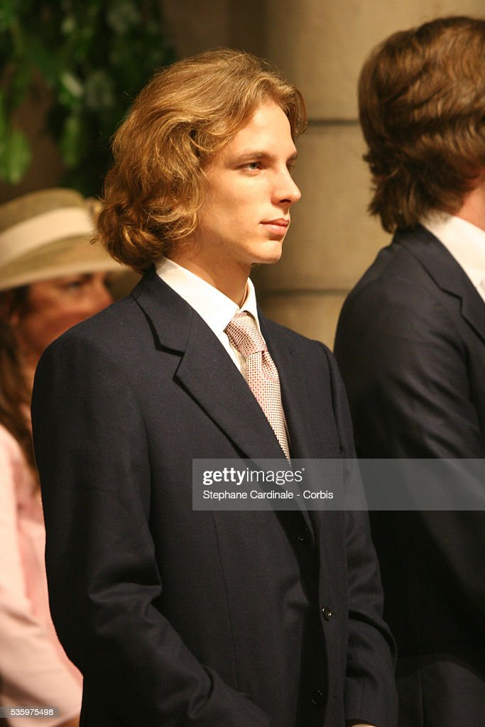 Andrea Casiraghi attends the enthronement mass in Monaco Cathedral. Prince Albert II, 47, took over as ruler of the principality following the death of his father, Prince Rainier in April.
