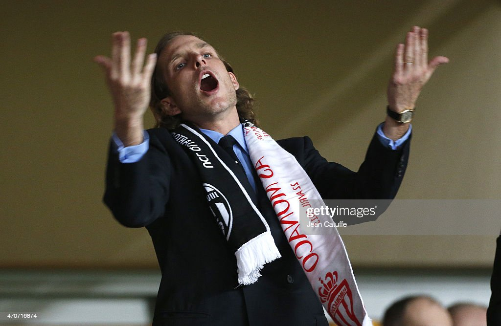 Andrea Casiraghi attends the UEFA Champions League quarter-final second leg match between AS Monaco FC and Juventus at Stade Louis II on April 22, 2015 in Monaco.