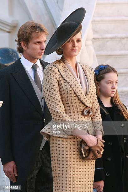 Andrea Casiraghi Charlene Wittstock and Princess Alexandra of Hanover attend the Award Ceremony for badges of rank and medals for employees at the...