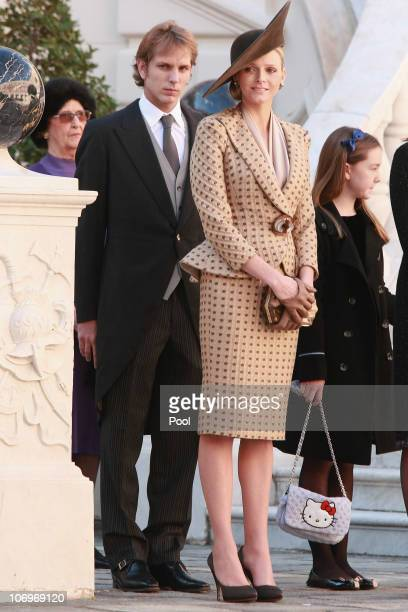 Andrea Casiraghi, Charlene Wittstock and Princess Alexandra of Hanover attend the Award Ceremony for badges of rank and medals for employees at the...