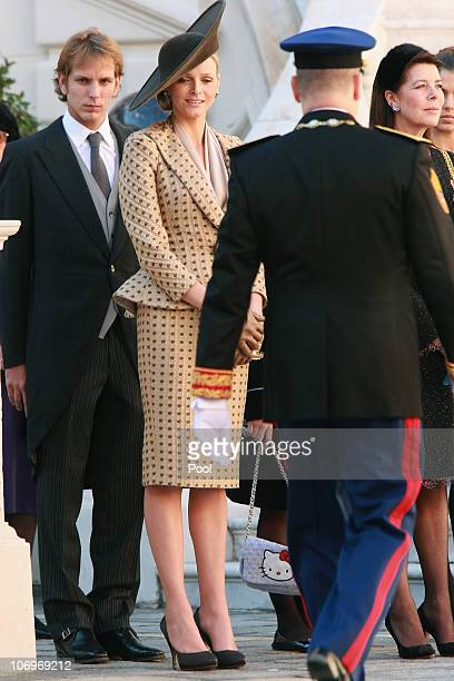 Andrea Casiraghi Charlene Wittstock Prince Albert II of Monaco and Princess Caroline of Hanover attend the Award Ceremony for badges of rank and...