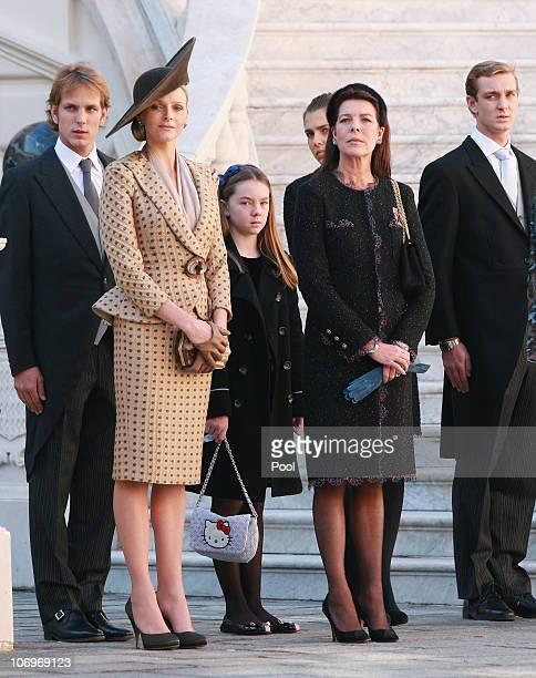 Andrea Casiraghi, Charlene Wittstock, Princess Alexandra of Hanover, Princess Caroline of Hanover, Charlotte Casiraghi and Pierre Casiraghi attend...