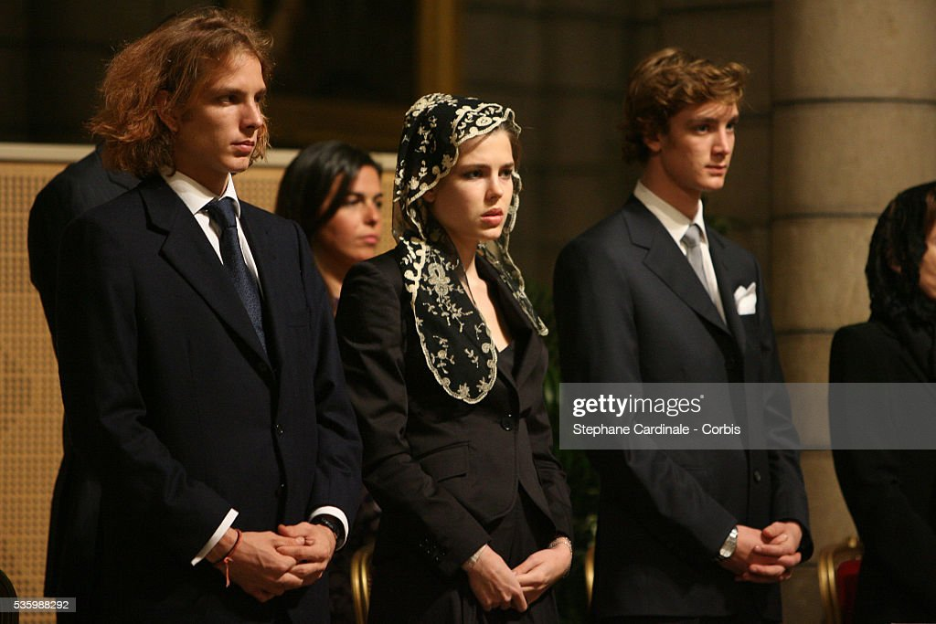 Andrea Casiraghi, Charlotte Casiraghi and Pierre Casiraghi at the mass marking the first anniversary of Prince Rainier III's death.