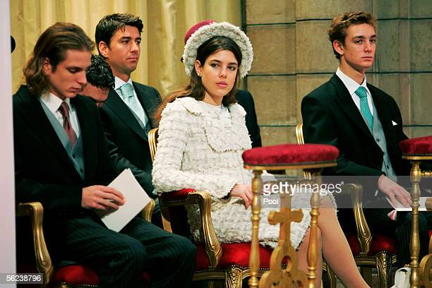 Andrea Casiraghi Charlotte Casiraghi and Pierre Casiraghi attend Mass in the Cathedral during Monaco's National Day celebrations which this year...