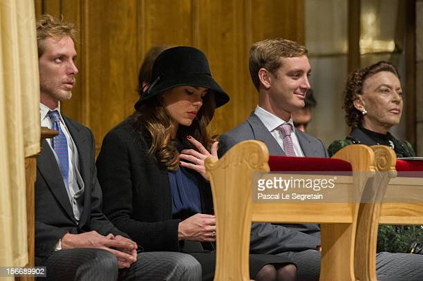 Andrea Casiraghi Charlotte Casiraghi Pierre Casiraghi and Baroness ElisabethAnne of Massy attend a mass in the Cathedral of Monaco as part of the...