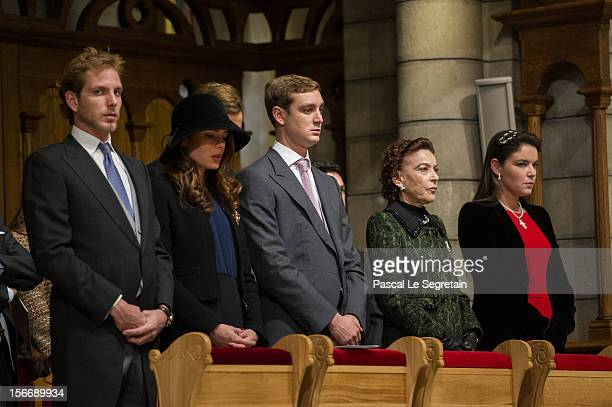 Andrea Casiraghi Charlotte Casiraghi Pierre Casiraghi Baroness ElisabethAnne of Massy and Melanie De Massy attend a mass in the Cathedral of Monaco...