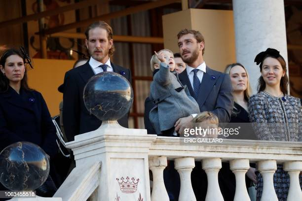 Andrea Casiraghi his wife Tatiana Pierre Casiraghi and Princess Alexandra of Hanover take part in the celebrations marking Monaco's National Day at...