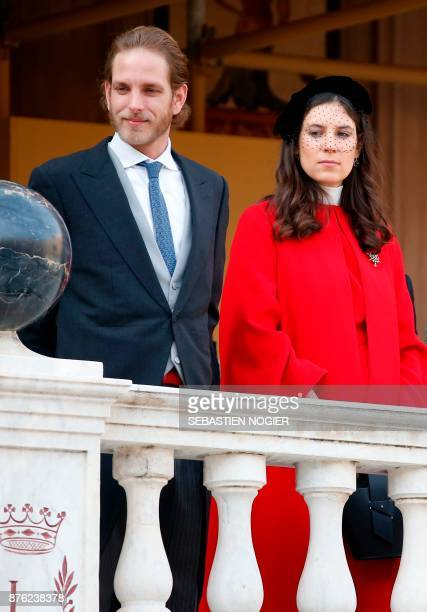 Andrea Casiraghi his wife Tatiana Santo Domingo attend the Monaco National Day celebrations at the Monaco Palace on November 19 2017 / AFP PHOTO /...