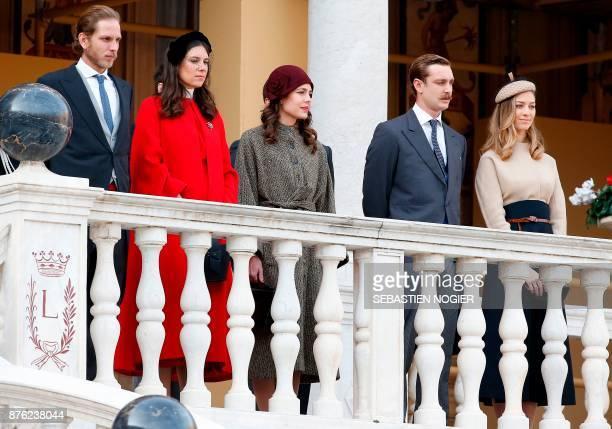 Andrea Casiraghi his wife Tatiana Santo Domingo Charlotte Casiraghi Pierre Casiraghi and his wife Beatrice Borromeo attend the Monaco National Day...