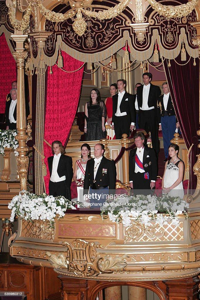 Andrea Casiraghi, HRH Caroline of Hanover, HRH Prince Albert II of Monaco, HRH Ernst August of Hanover and Charlotte Casiraghi arrive at the official gala.