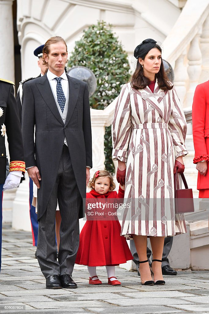 Andrea Casiraghi, India Casiraghi and Tatiana Casiraghi attend the Monaco National Day Celebrations in the Monaco Palace Courtyard on November 19, 2016 in Monaco, Monaco.