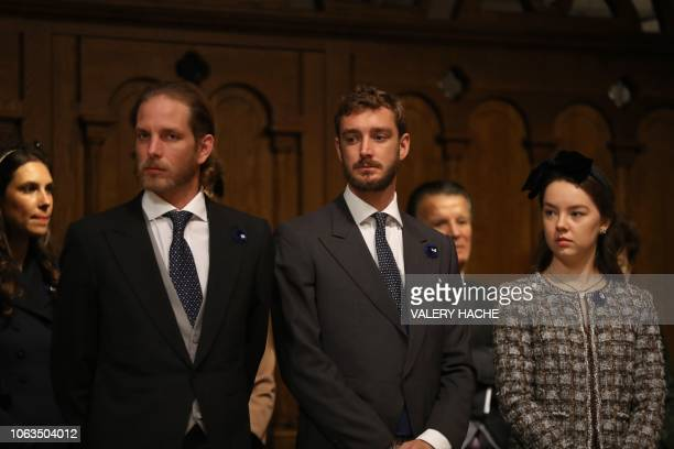 Andrea Casiraghi Pierre Casiraghi and Princess Alexandra of Hanover attend a mass at the cathedral during the celebrations marking Monaco's National...