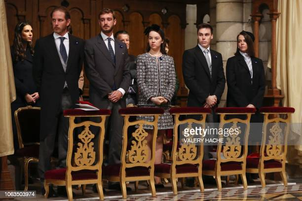Andrea Casiraghi, Pierre Casiraghi, Princess Alexandra of Hanover, Louis Ducruet and Pauline Ducruet attend a mass at the cathedral during the...