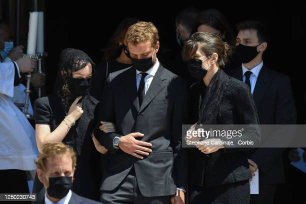 Andrea Casiraghi, Princess Alexandra of Hanover, Pierre Casiraghi, Charlotte Casiraghi and Louis Ducruet leave the Monaco Cathedral after...