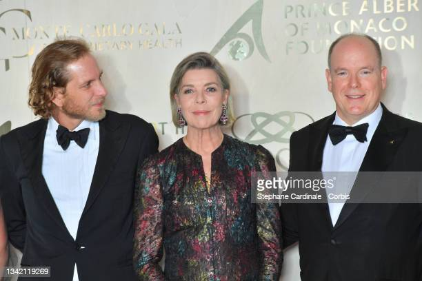 Andrea Casiraghi, Princess Caroline of Hanover and Prince Albert II of Monaco attend the photocall during the 5th Monte-Carlo Gala For Planetary...
