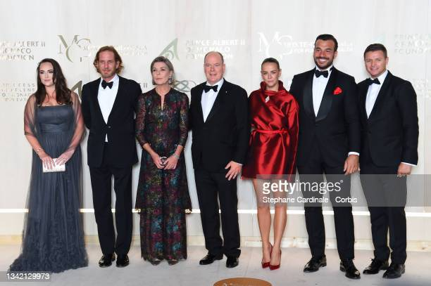 Andrea Casiraghi, Princess Caroline of Hanover, Prince Albert II of Monaco, Pauline Ducruet, Maxime Giaccardi and Gareth Wittstock attend the...