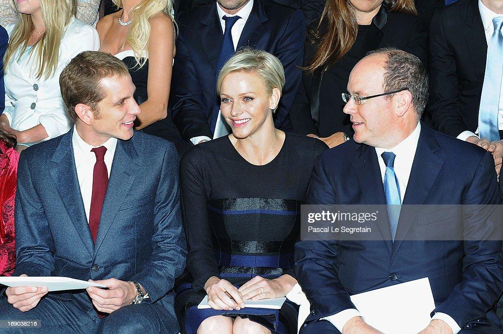 Andrea Casiraghi, Princess Charlene of Monaco and Prince Albert II of Monaco attend the Dior Cruise Collection 2014 show on May 18, 2013 in Monaco, Monaco.