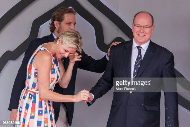 Andrea Casiraghi Princess Charlene of Monaco and Prince Albert II of Monaco are seen on the podium at Circuit de Monaco on May 27 2018 in MonteCarlo...