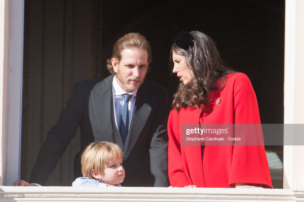 Andrea Casiraghi, Sacha Casiraghi and Tatiana Casiraghi greet the crowd from the palace's balcony during the Monaco National Day Celebrations on November 19, 2017 in Monaco, Monaco.