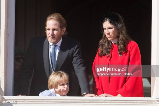 Andrea Casiraghi Sacha Casiraghi and Tatiana Casiraghi greet the crowd from the palace's balcony during the Monaco National Day Celebrations on...