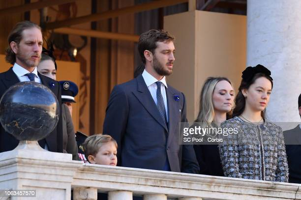Andrea Casiraghi Sacha Casiraghi Pierre Casiraghi and Princess Alexandra of Hanover attend Monaco National Day Celebrations on November 19 2018 in...