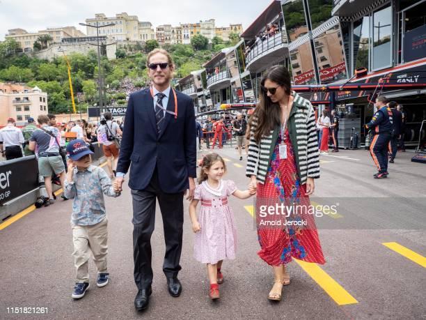 Andrea Casiraghi, Sasha Casiraghi, India Casiraghi and Tatiana Casiraghi attends the F1 Grand Prix of Monaco on May 26, 2019 in Monte-Carlo, Monaco.