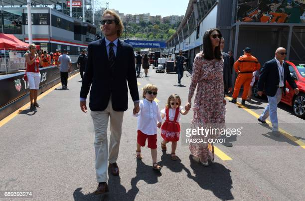Andrea Casiraghi son of Princess Caroline of Hanover and his wife Tatania arrive with their children in the pits ahead of the Monaco Formula 1 Grand...