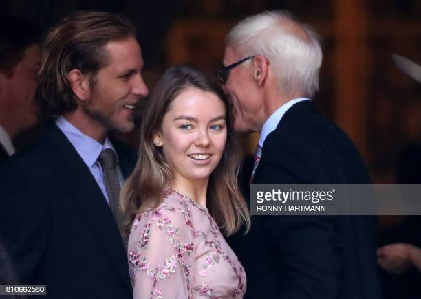 Andrea Casiraghi son of Princess Caroline of Hanover and Princess Alexandra of Hanover wait ahead the church wedding of Prince Ernst August of...