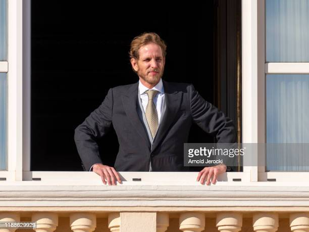 Andrea Casiraghi stand at the Palace balcony on November 19, 2019 in Monte-Carlo, Monaco.