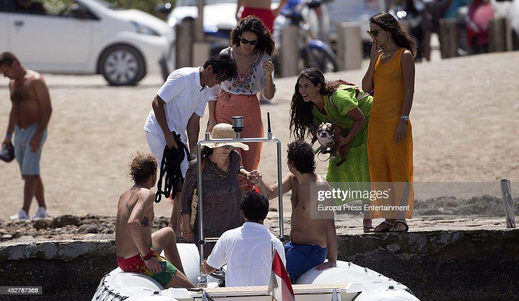 Andrea Casiraghi (L), Tatiana Santo Domingo (2R), Alex Dellal (3R), Elisa Sednaoui (3L) and Margherita Missoni (R) are seen on July 25, 2014 in Ibiza, Spain.