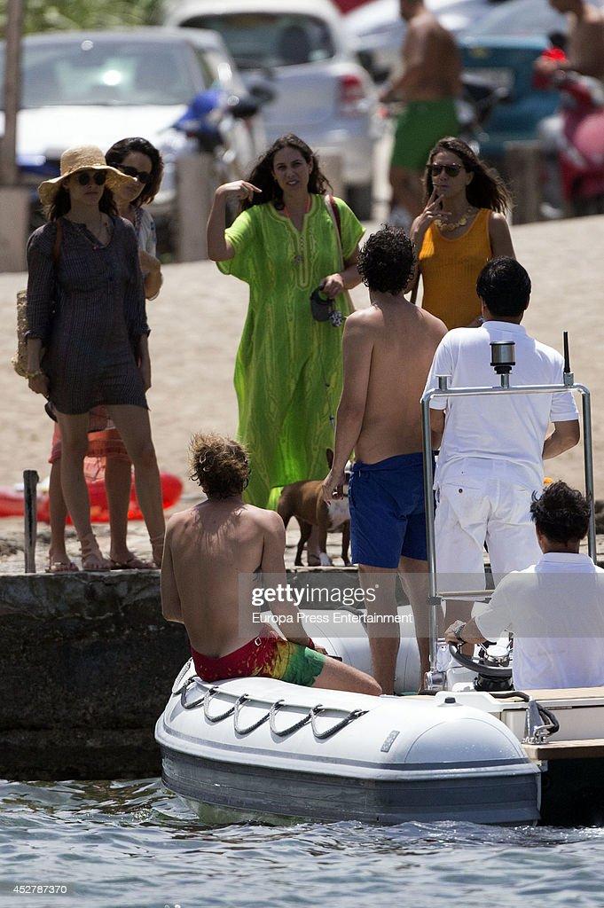 Andrea Casiraghi (3L), Tatiana Santo Domingo (4L), Alex Dellal (4R), Elisa Sednaoui (L) and Margherita Missoni (3R) are seen on July 25, 2014 in Ibiza, Spain.