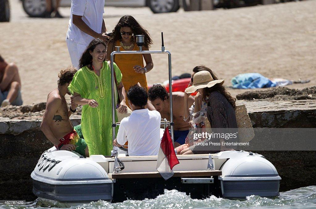 Andrea Casiraghi (L), Tatiana Santo Domingo (2L), Alex Dellal (2R), Elisa Sednaoui (R) and Margherita Missoni (3L) are seen on July 25, 2014 in Ibiza, Spain.