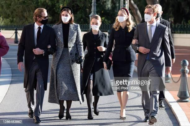 Andrea Casiraghi, Tatiana Santo Domingo , Alexandra of Hanover, Beatrice Borromeo and Pierre Casiraghi arrive at the Monaco cathedral to attend a...