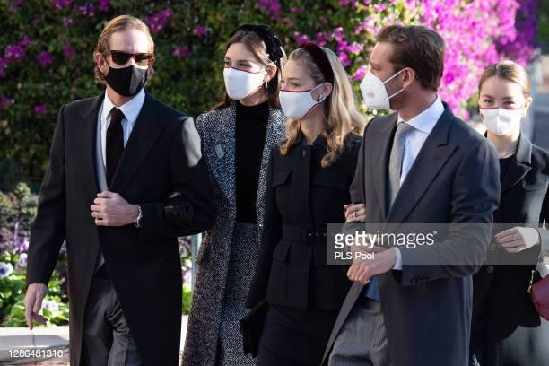 Andrea Casiraghi, Tatiana Santo Domingo, Beatrice Borromeo, Pierre Casiraghi and Alexandra of Hanover arrive at the Monaco cathedral to attend a mass...