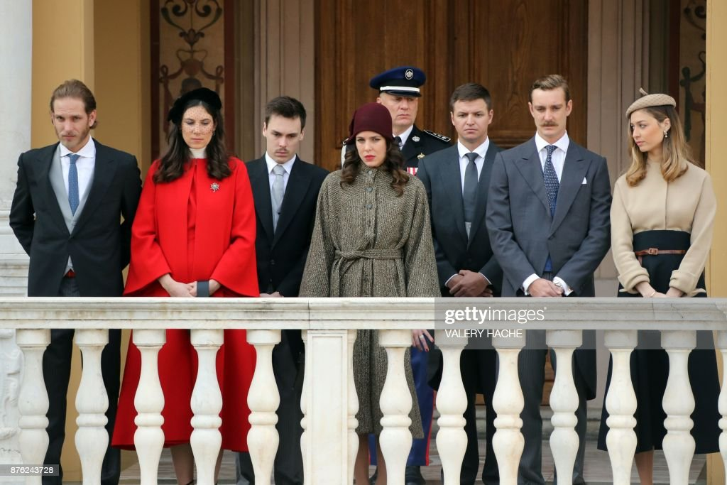 Andrea Casiraghi, Tatiana Santo Domingo, Louis Ducruet, Charlotte Casiraghi, Gareth Wittstock, Pierre Casiraghi and Beatrice Borromeo attend the Monaco National Day celebrations at the Monaco Palace on November 19, 2017. /