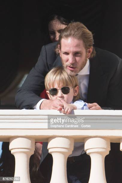 Andrea Casiraghi with his son Sacha Casiraghi greet the crowd from the palace's balcony during the Monaco National Day Celebrations on November 19...